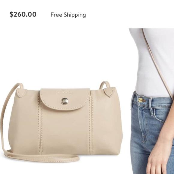 Longchamp Le Pliage - Cuir Crossbody Bag tan small